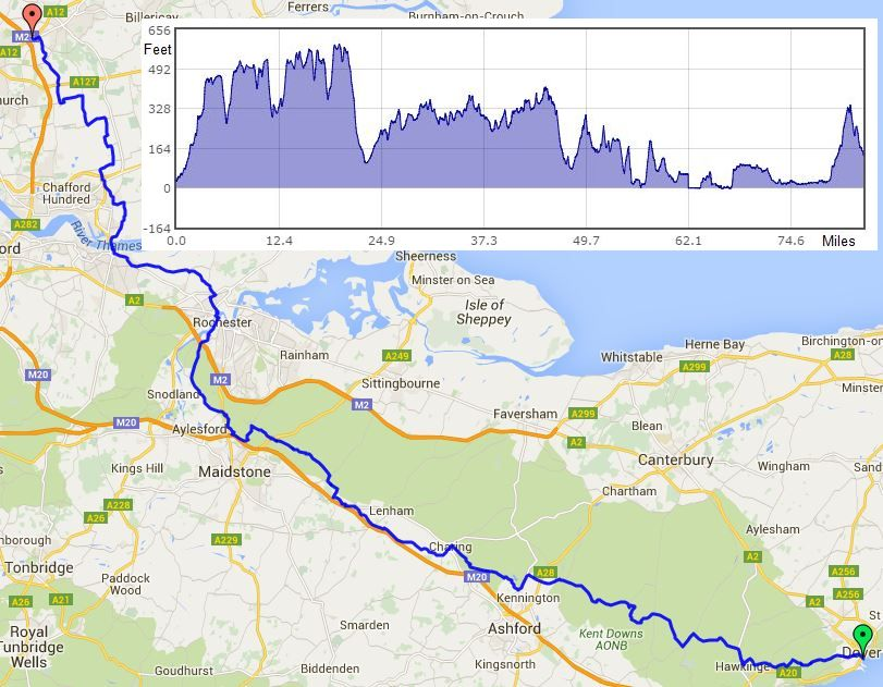 Dover to Brentwood route map