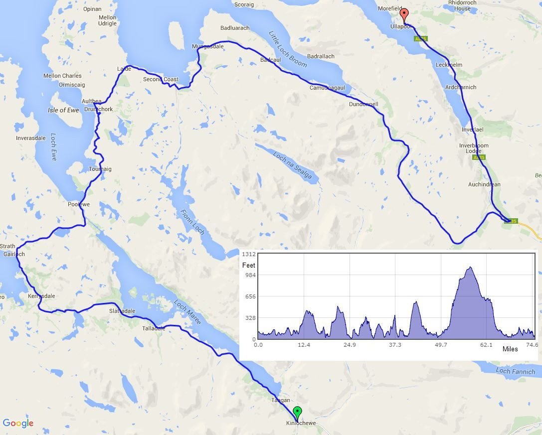 Kinlochewe to Ullapool route map