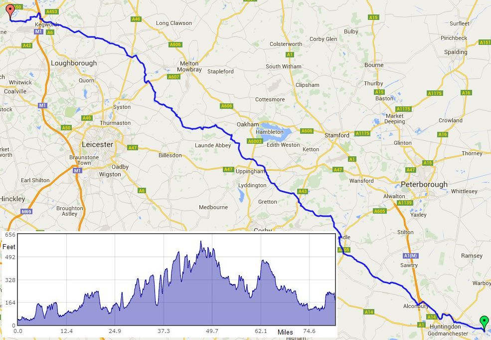 St Ives to Castle Donington route map