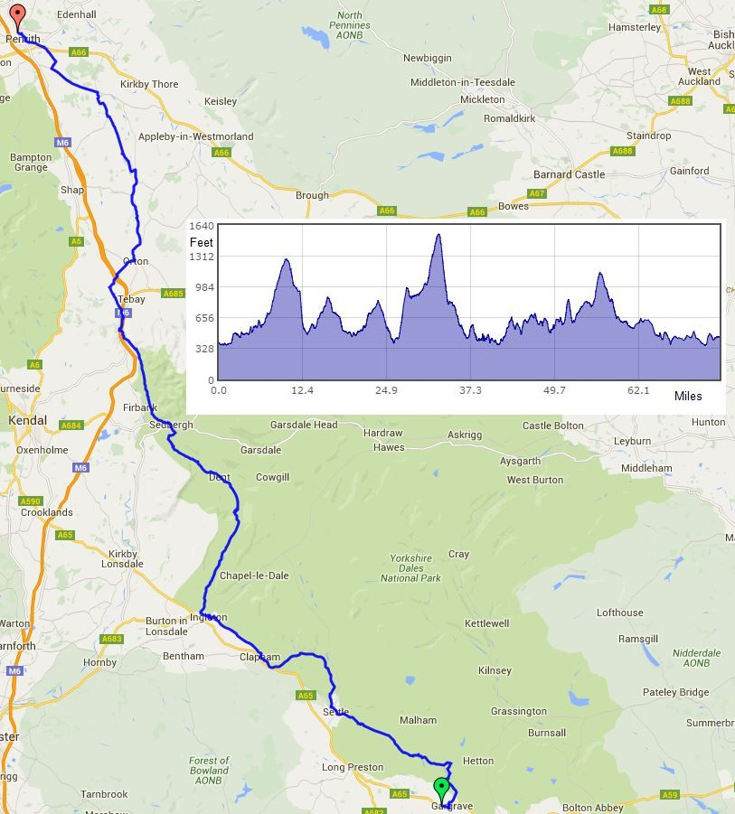 Gargrave to Penrith route map