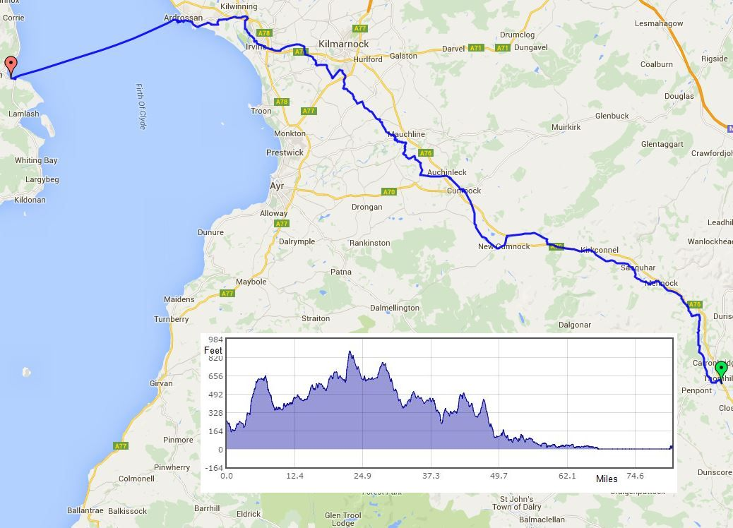 Thornhill to Brodick route map
