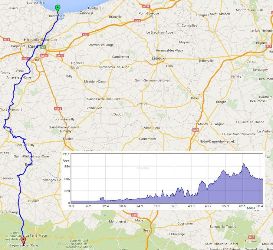 """Caen to Bagnoles de lOrne route map"""" width="""