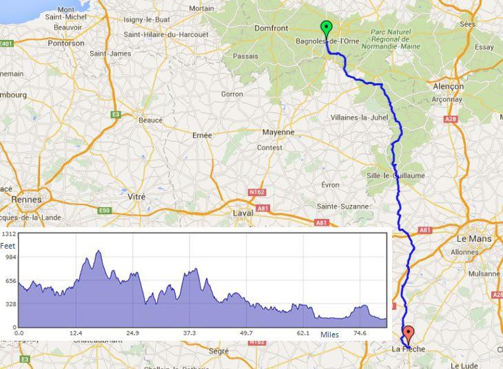 """Bagnoles de lOrne to La Fleche route map"""" width="""
