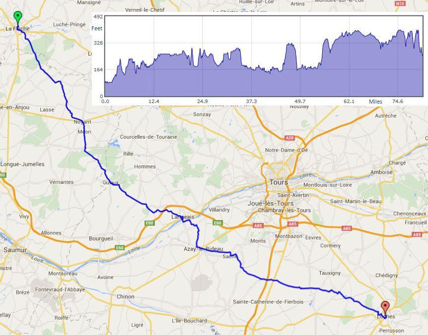 "La Fleche to Loches route map"" width="