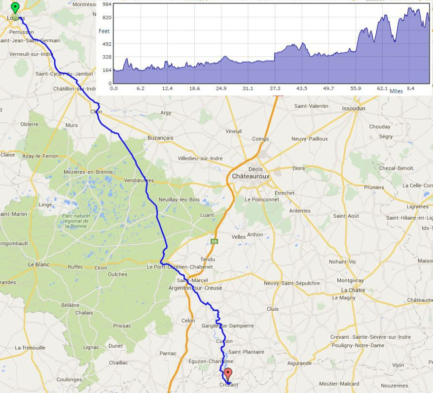 """Loches to Crozant route map"""" width="""