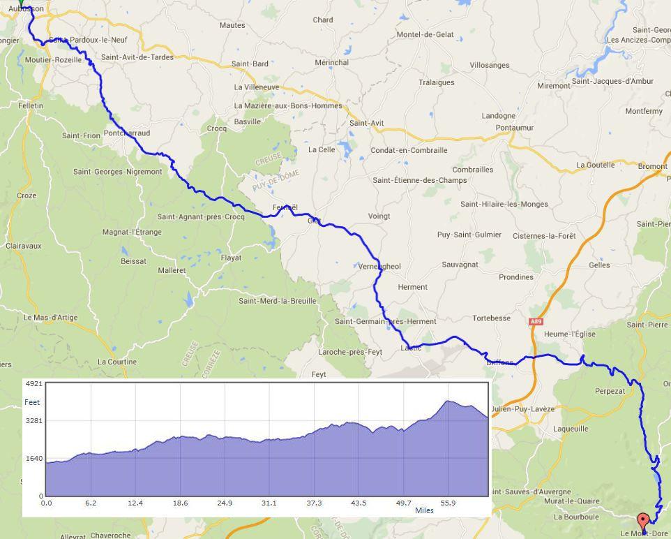"""Aubusson to Le Mont Dore route map"""" width="""