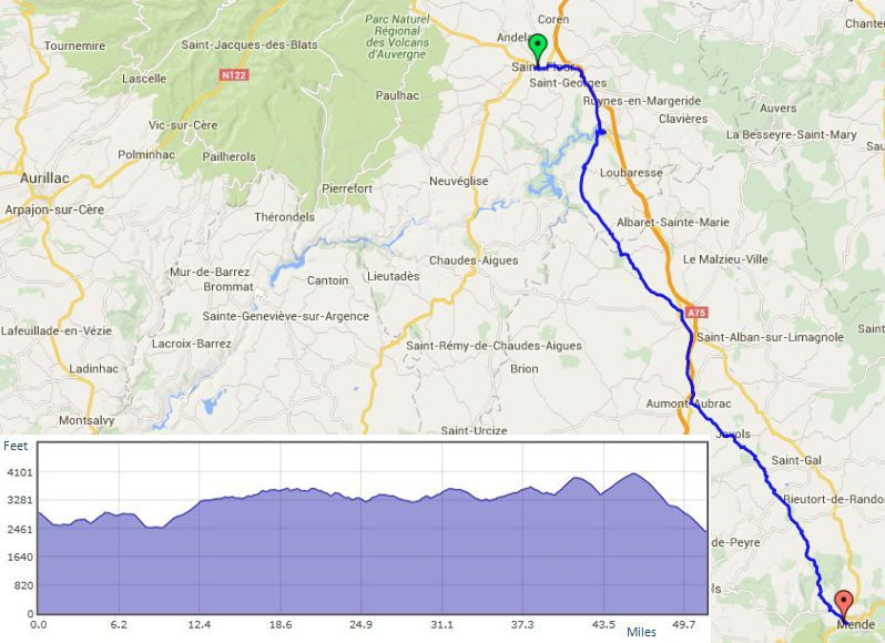 """St Flour to Mende route map"""" width="""