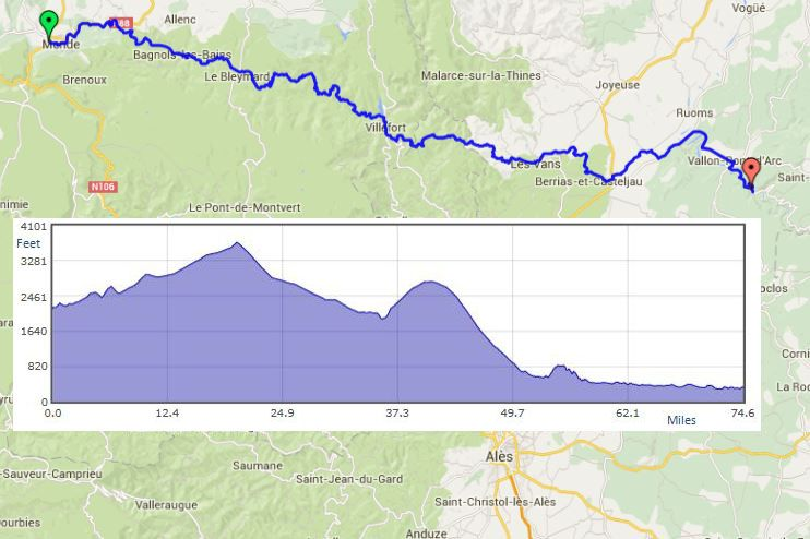 """Mende to Vallon pont DArc route map"""" width="""