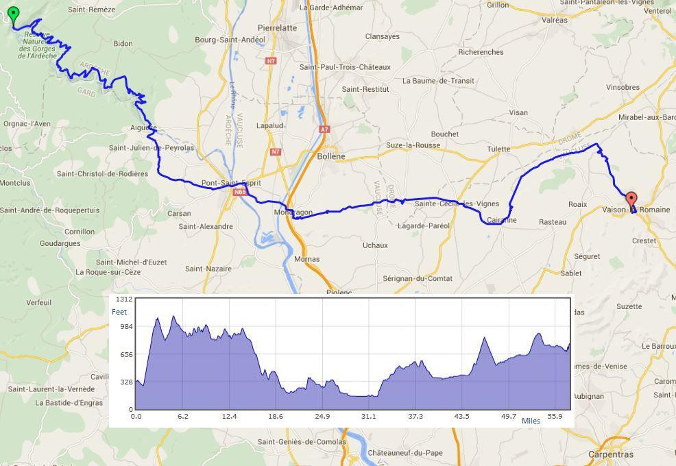 """Vallon pont DArc to Vaison-la-Romaine route map"""" width="""