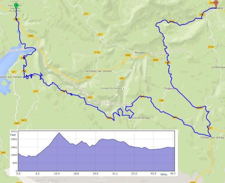 Moustier-Ste-Marie to Castellane route map