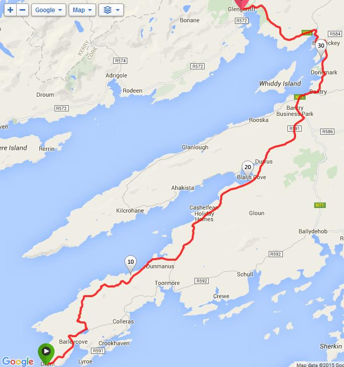 Route from Mizen Head to Glengariff