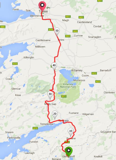 Route from Glengariff to Tralee