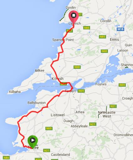 Route from Tralee to Lahinch