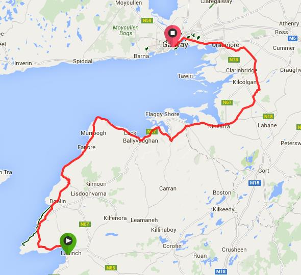 Route from Lahinch to Galway