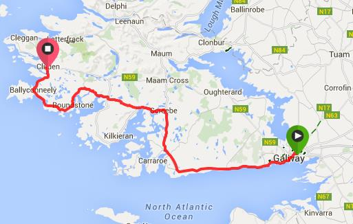 Route from Galway to Clifden