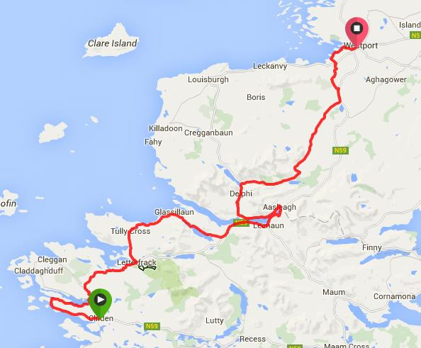 Route from Clifden to Westport