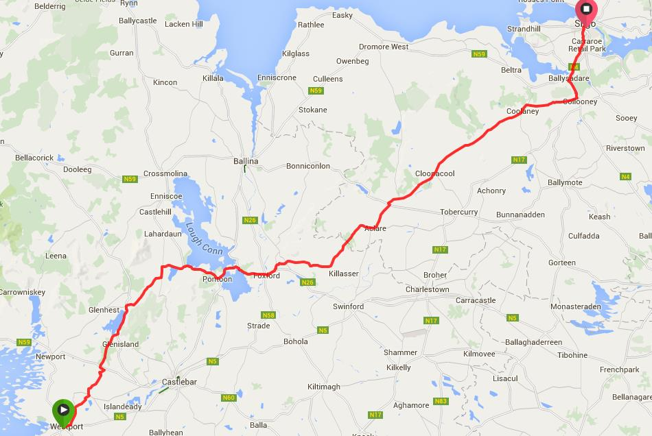 Route from Westport to Sligo