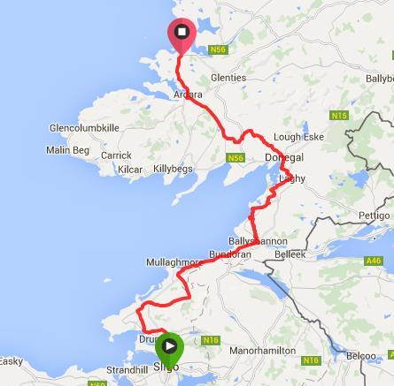 Route from Sligo to Portnoo/Narin