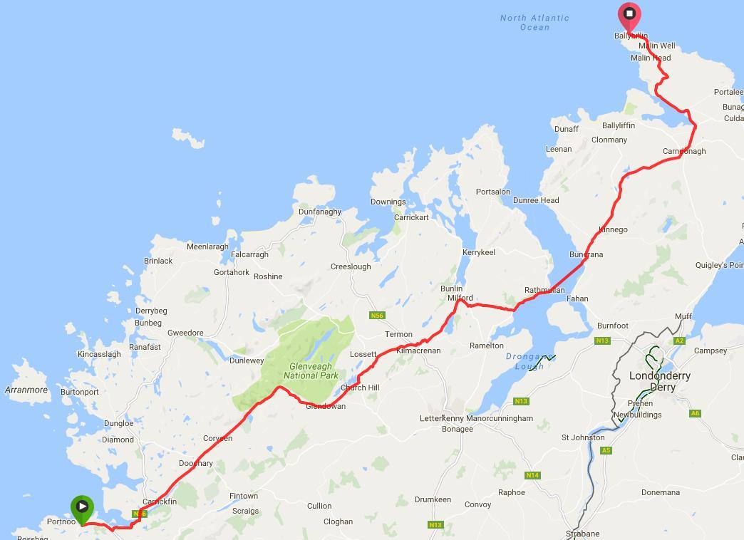 Route from Portnoo/Narin to Malin Head